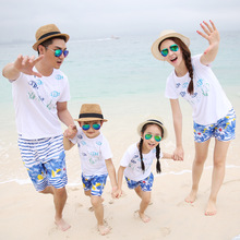 Parent-child mother and daughter father family suit cotton casual fashion printing a family of three home loaded beachwear