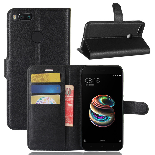 best service 36d56 80eb4 US $4.19 |For Xiaomi Mi A1 MiA1 case,book style wallet flip leather case  for xiaomi mia1 cover with card slots holders-in Wallet Cases from  Cellphones ...