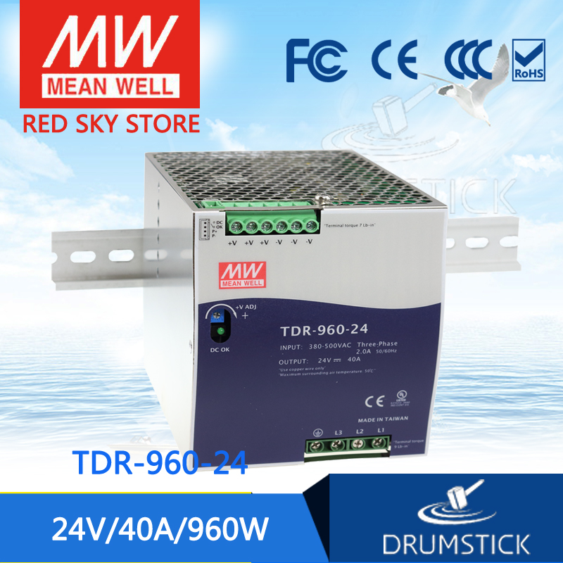 Selling Hot MEAN WELL original TDR-960-24 24V 40A meanwell TDR-960 24V 960W Three Phase Industrial DIN RAIL with PFC Function mean well original drt 960 24 24v 40a meanwell drt 960 24v 960w single output industrial din rail power supply