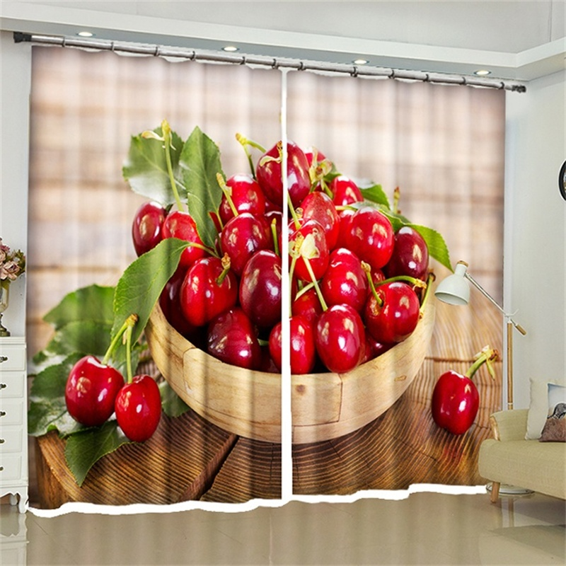 Strawberry Cherry Peach Watermelon Fruit Printed Curtains Home Decor  Blackout Darkening Drapes For Kitchen Living Room Bedroom