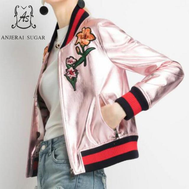Autumn winter sheepskin genuine leather jacket women pink Embroidered flower motorcycle female real leather Baseball Jackets