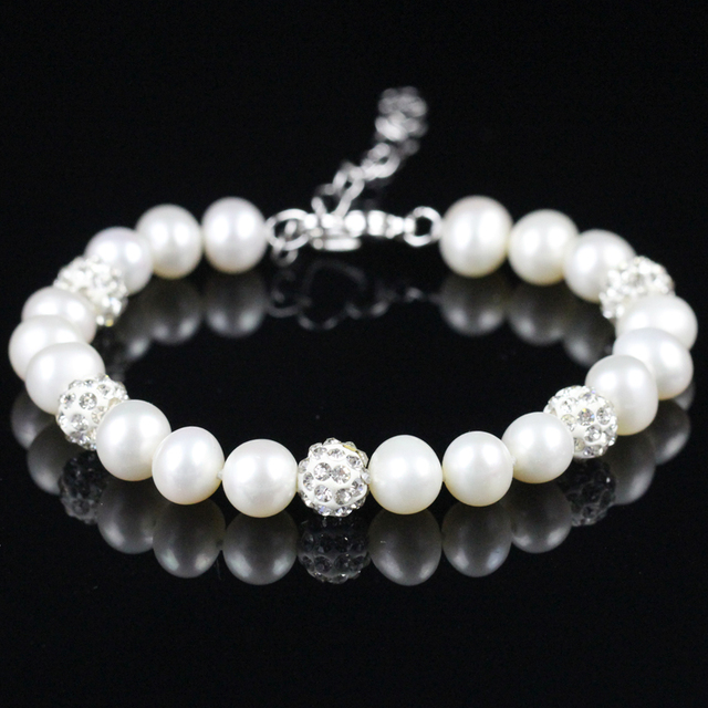 Women Fashion Bracelet Shining Crystal And Pearl Bracelet Real Freshwater Birthstone Pearl Fashion Bracelet Gifts For Girlfriend