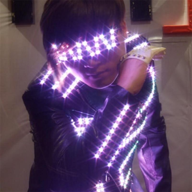 ①DHL envío LED luminoso traje para hombres ropa luz Trajes danza ...
