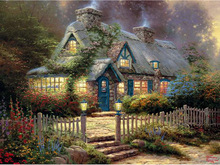 Needlework DIY Diamond Painting landscape garden house icons  embroidery pattern Room Decorate Rhine stone Mosaic Picture