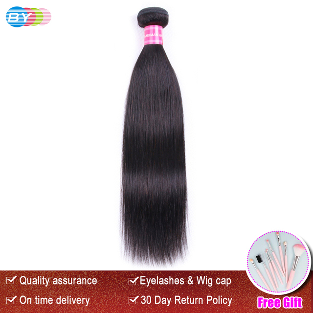 BY Brazilian Hair Weave Bundles Straigt Hair Natural Black Color 8-30 Inch One Piece Remy Human Hair Extension Free Shipping