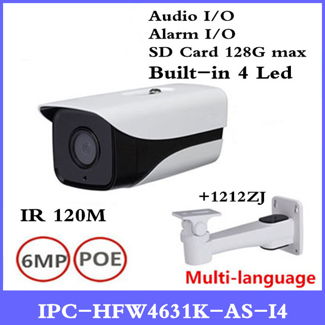 DH 6Mp IP Camera IPC-HFW4631K-AS-I4 IP67 built-in 4 Leds IR120M with Audio & Alarm interface bullet camera with bracket ahua 6mp ip camera ipc hfw4631k as i4 ip67 built in 4 leds ir120m with audio