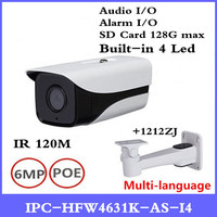 DH 6Mp IP Camera IPC HFW4631K AS I4 IP67 built in 4 Leds IR120M with Audio & Alarm interface bullet camera with bracket