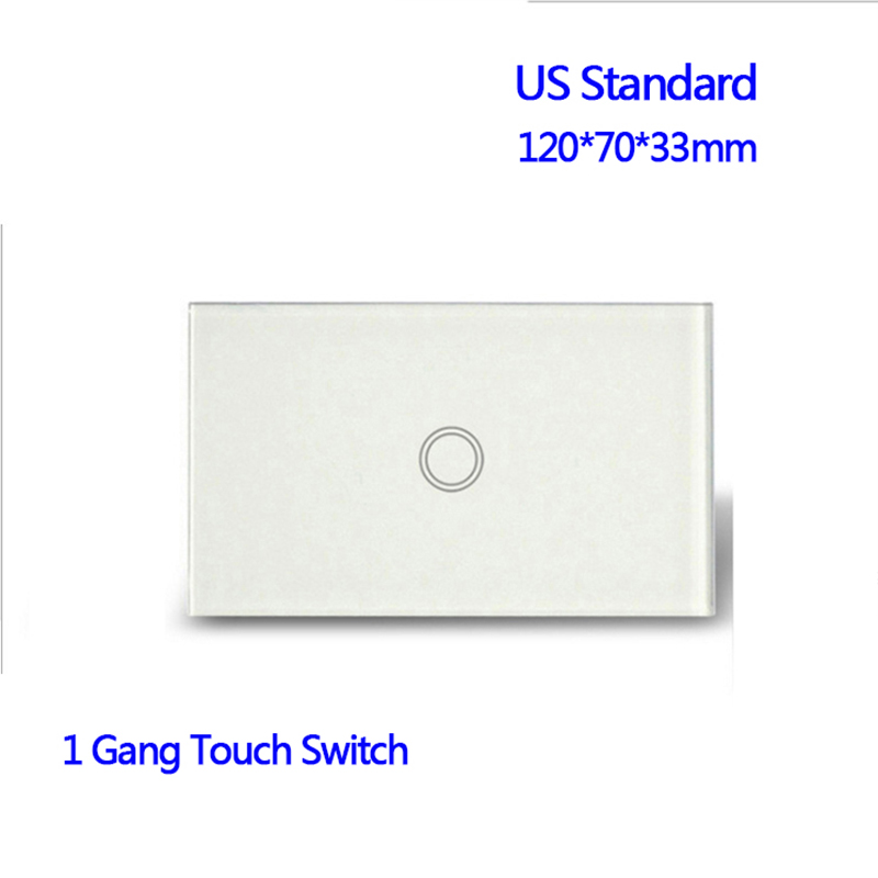 US Standard 1 Gang 1 Way Wall Light Touch Screen Waterproof Crystal Glass Panel Wall Touch Switch us standard smart home touch switch 1 gang 1 way white crystal glass panel light switch touch screen wall switch