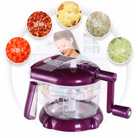 5 Functions Manual Cutting Machine Hand cranked Meat Pepper Grinder Vegetable Slicer Stainless Steel Blade Kitchen Food Chopper