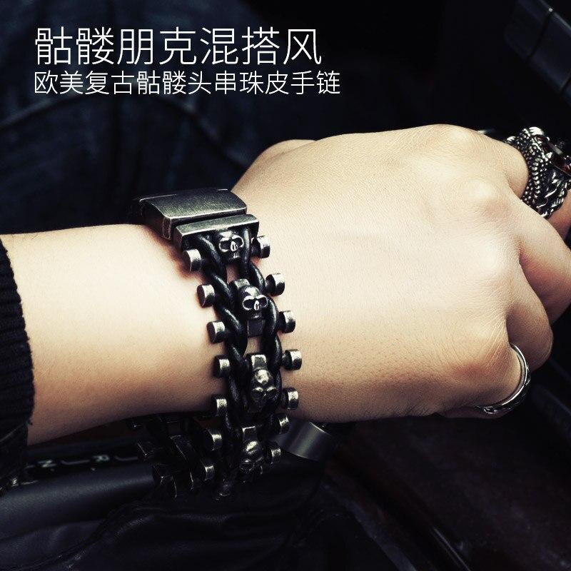 широкий череп скелет кожаный браслет для мужчин с нержавеющей стали манжеты ткацкий станок брендов пряжки ремня