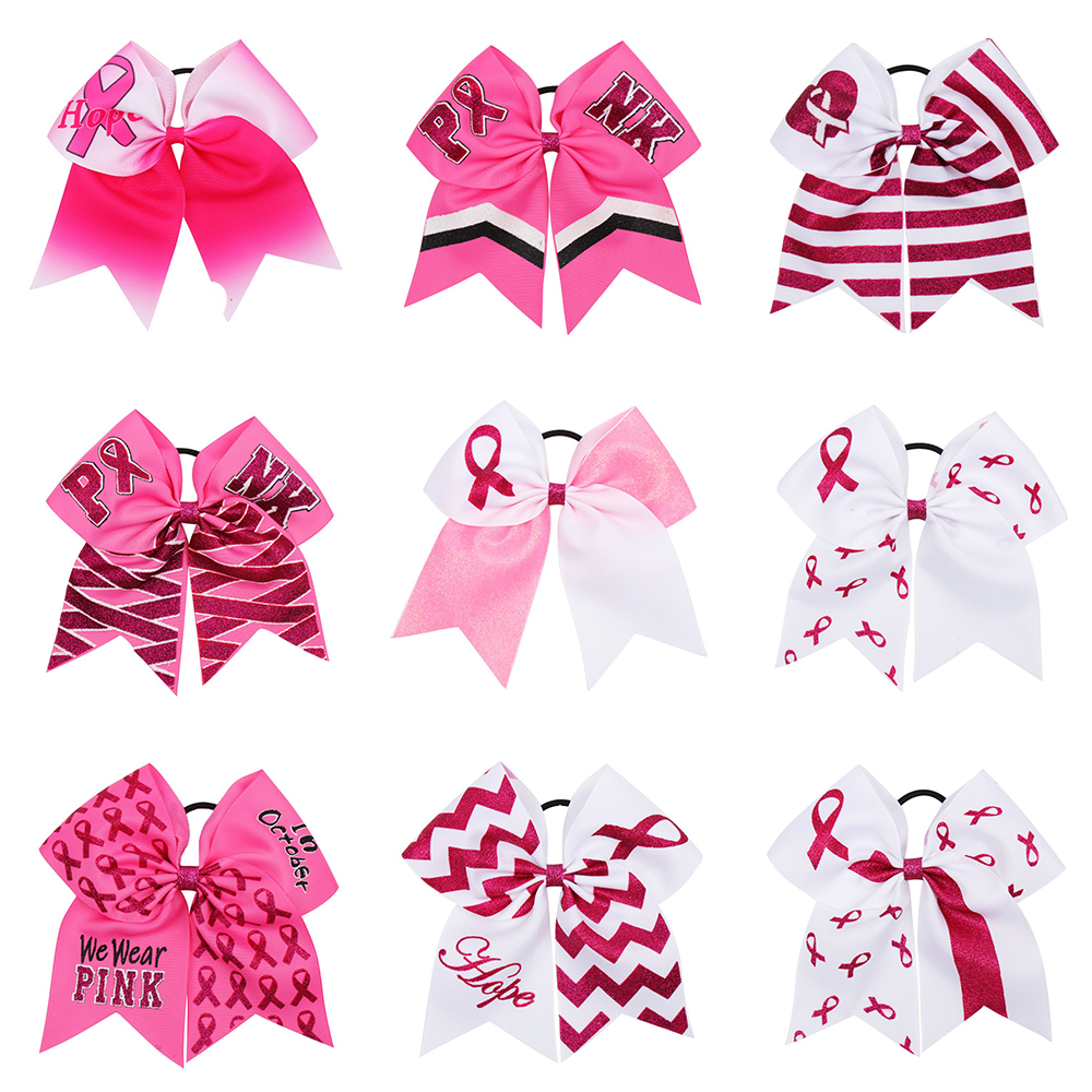7/'/' Large Breast Cancer Awareness Glitter Cheer Bow Hair Bows With Elastic Rope