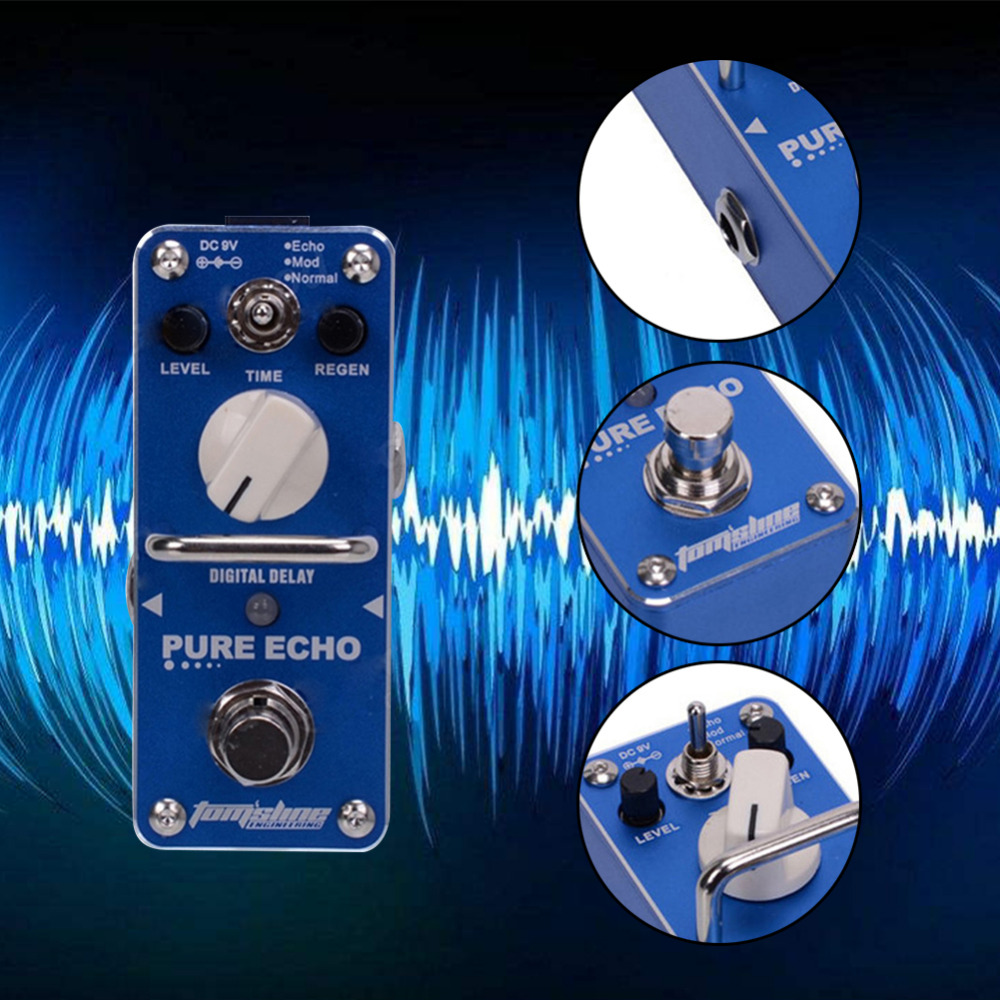 High Quality Tomsline APE-3 Pure for Echo Digital Delay Electric Guitar Effect Pedal Mini Single Effect with True Bypass sews aroma aov 3 ocean verb digital reverb electric guitar effect pedal mini single effect with true bypass