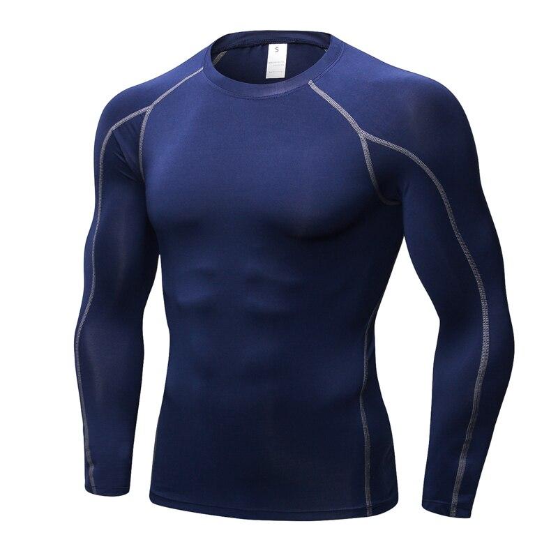 Bodybuilding Long Sleeve Sport Running Shirt Men Quick Dry T-shirts Striped Gym Clothing Fitness Top Male Rashgard Soccer Jersey