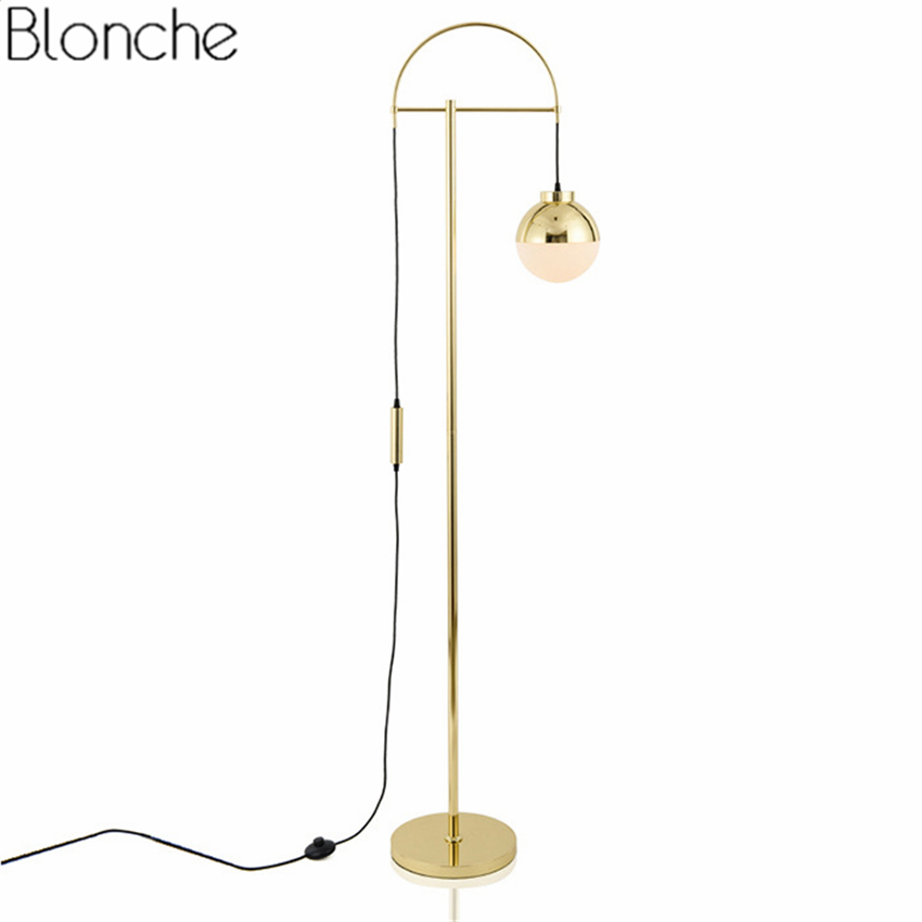 Post-modern LED Gold Floor Lamp Glass Ball Iron Body Standing Light E27 Lights for Living Room Bedroom Bedside Lamps Home Decor toolery led floor light american modern standing light living room floor hotel lighting bedside floor lamp e27 led bulb by dhl