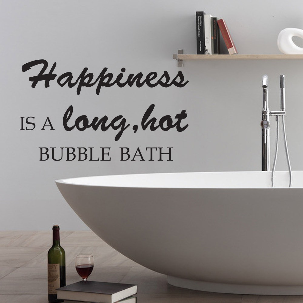 Happiness is a long hot bubble bath Bathroom Bathtub Wall Quote ...