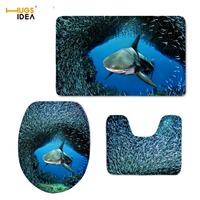 HUGSIDEA Custom 3PCS Set Bathroom Non slip Floor Carpet 3D Cool Animal Dolphin Design Home Hotel Decor Rugs Tapis for WC Toilet