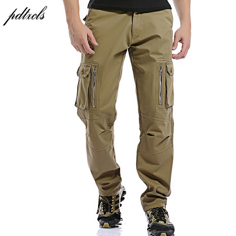 49PDTXCLS 2018Winter Fleece Men Cargo Pants Fit Multi-pocket Male Double Layer Thicken Warm Military Trousers Plus Size 28-40