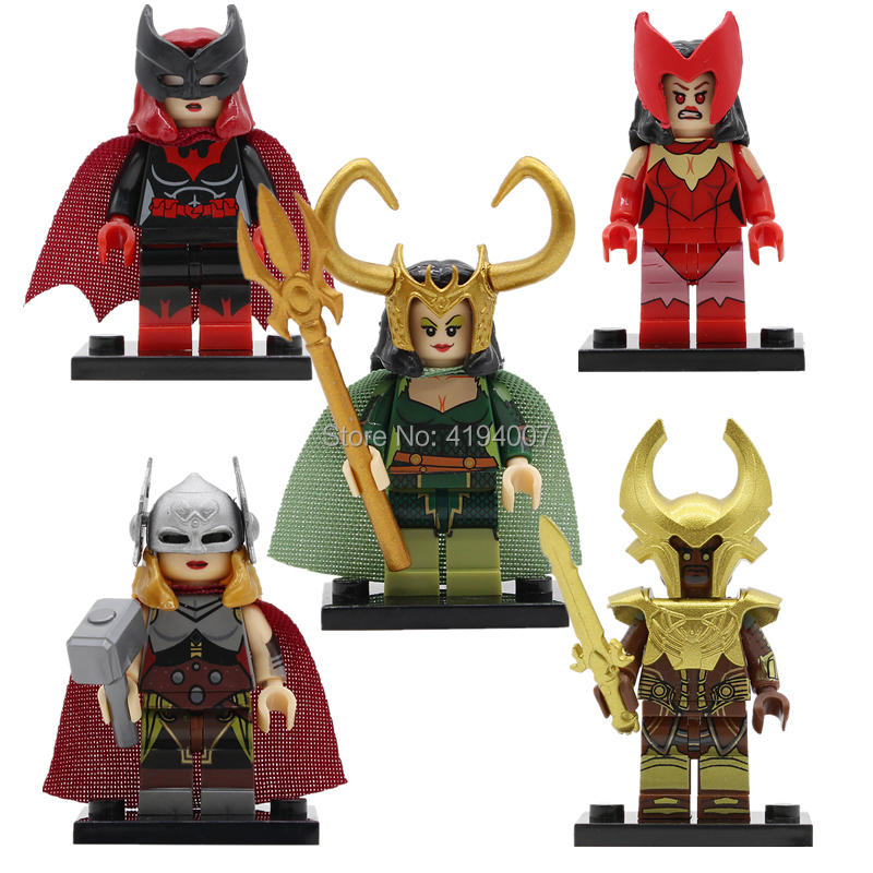 Super Hero Lady Knight Figure Scarlet Witch Single Sale Legoingly Lady Loki Thor Building Blocks Movie