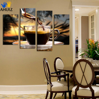 4 Panels Canvas Painting Coffee Background Print Painting On Canvas Wall Art Picture Kitchen Home Decoration