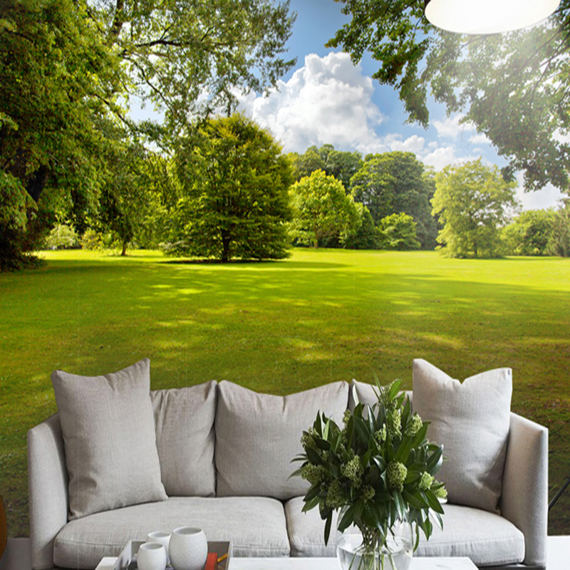 Photo Wallpaper 3D Stereo Green Tree Lawn Sunshine Nature Landscape Mural Living Room Bedroom Backdrop Wall 3D Mural Wall Papers