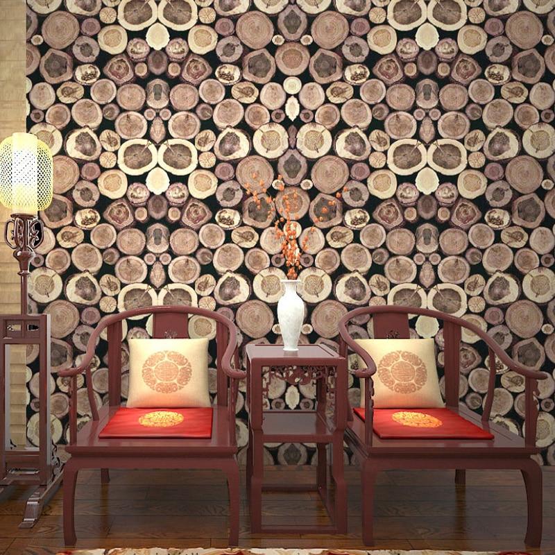 Rétro 3D Grain de bois anneau annuel PVC étanche vinyle papier peint Restaurant étude salon décor à la maison papier peint pour murs rouleau