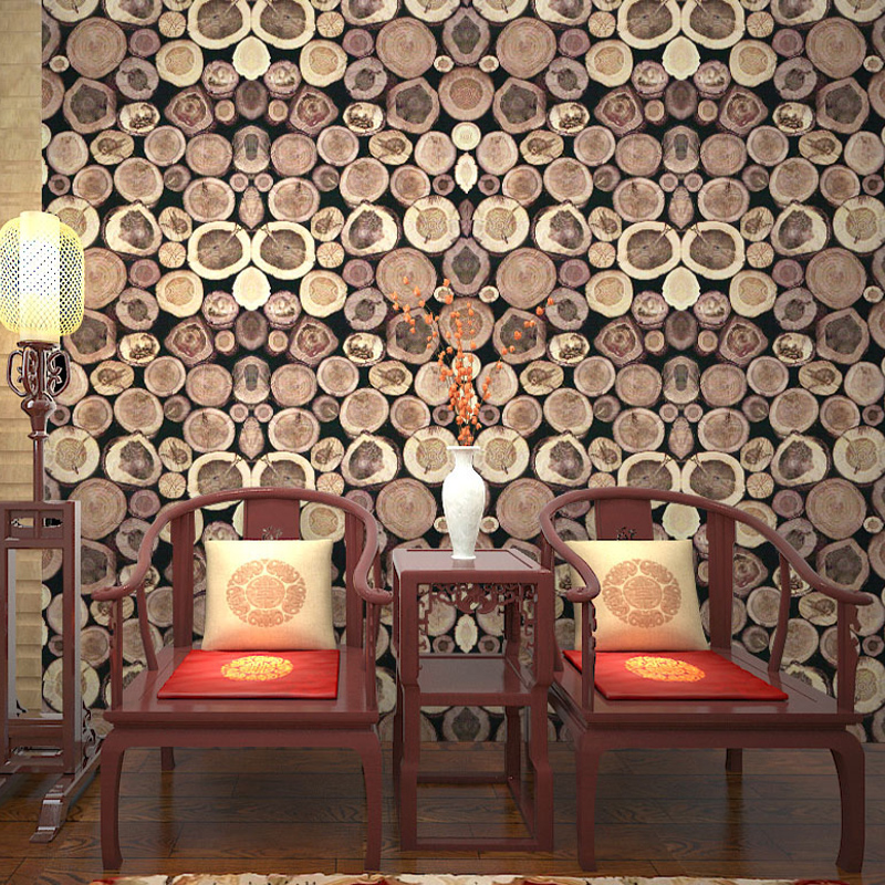 Retro Simulation Trees Wood Grain Annual Ring PVC Wallpaper Living Room Study Restaurant TV Background Wallpaper For Walls 3 D