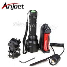 Anjoet High Quality 2000LM Lantern C8 XML Q5 Led Flashlight Linterna Torch Light Hunting Flash+18650 Battery Charger Gun Mount
