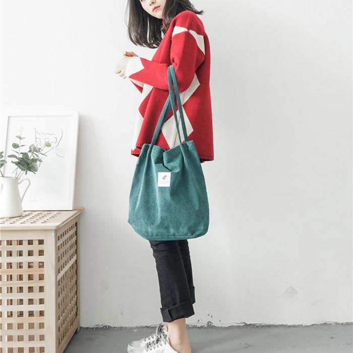 High Capacity Women Corduroy Tote Ladies Casual Shoulder Bag Foldable Reusable Shopping Beach Bag WML99 20