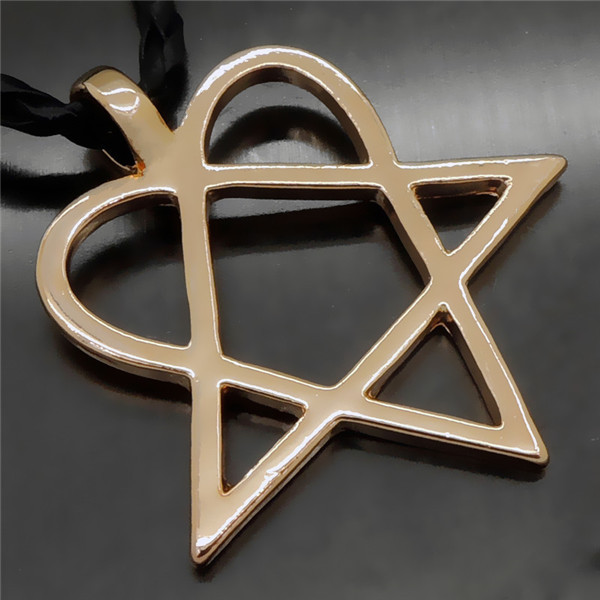 New fashion heartagram star heart him silver gold tone men women new fashion heartagram star heart him silver gold tone men women pewter pendant with 20 aloadofball Image collections