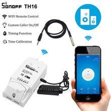 Sonoff enchufe inteligente TH16 con Wifi para el hogar, controlador inteligente de temperatura, humedad, Automatización del hogar, funciona con Alexa y Google Home