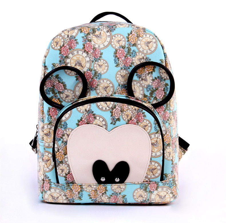 preppy style cute college girls school bags floral printing packsack mickey bagpack women