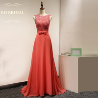 Custom Made A Line Backless Beaded Lace Appliques Chiffon Long Coral Bridesmaid Dress Maid of Honor Party Dress