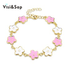 ФОТО visisap colorful plant pink white flowers charms bracelets for women female link bracelet fashion jewelry gifts for girls vb024