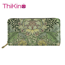 Thikin William Morris pimpernel fabric Long Wallets  Zipper Phone Bag for Girls Clutch Purse Carteira Handbags Notecase 2019