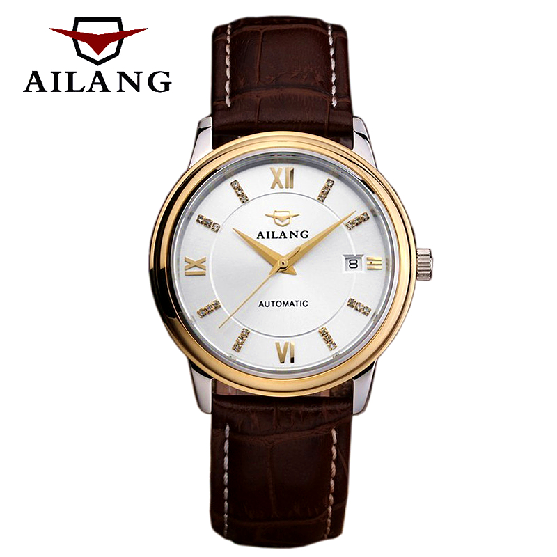 Mechanical Wind Mens Watches top luxury brand Business Calendar Wrist watch Men Leather Rhinestones Automatic Mechanical Watch