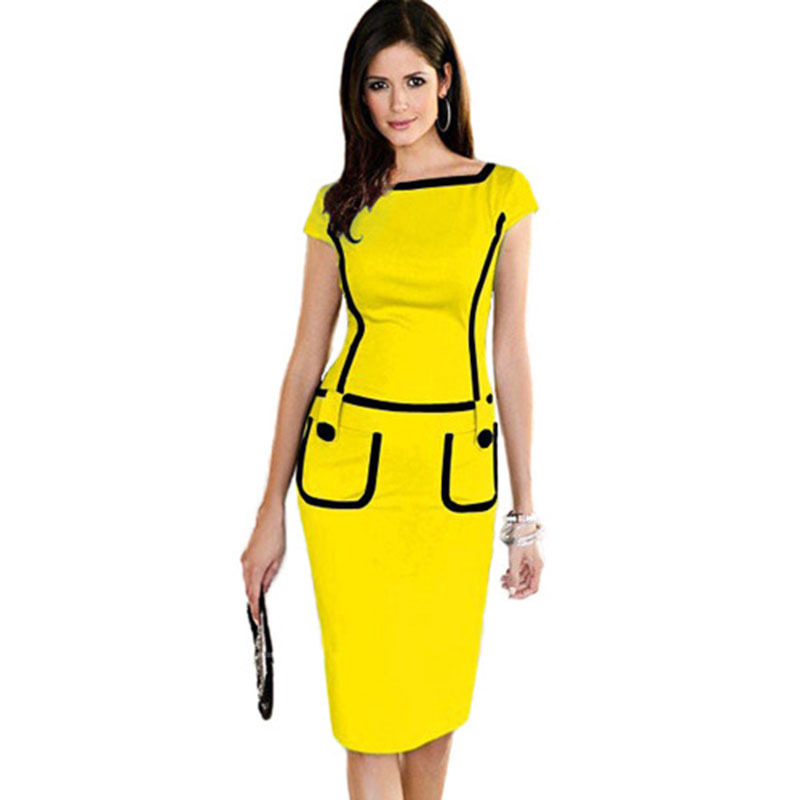 Office Dress Women Summer Casual Party Bodycon Pencil Dress Pinup