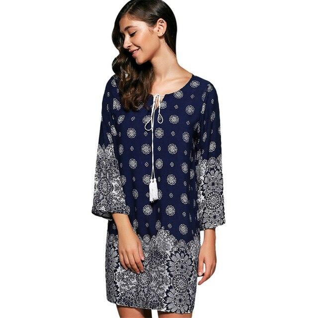 835a6a85d56 2017 New Fashion Bohemian Autumn Summer Dress Women O-Neck 3 4 Sleeve  Tied-up Tribal Print Beach Loose Dresses Sundress