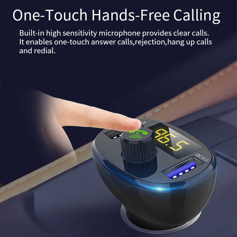 QC3.0 kép USB Sạc Nhanh Bluetooth FM Transmitter car mp3 máy nghe nhạc Âm Thanh Receiver Adapter phụ kiện Xe Ô Tô-Sạc 50-100mA