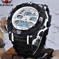 Novo 2014 Freeshipping Homens Relógio Do Esporte À Prova D' Água Data Alarme LED Digital Analógico Quartz Silicone Relógios de pulso militar