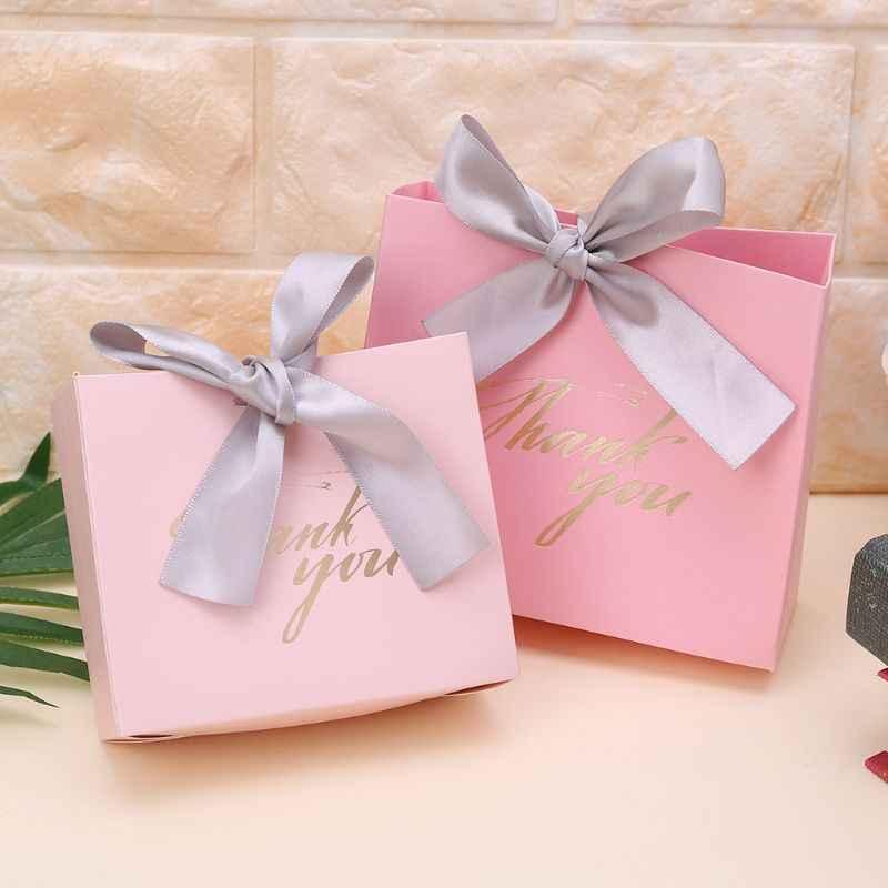 2 размера 5 шт спасибо бумажные конфеты шоколадный торт коробки пакет Подарочная сумка Свадебные сувениры с лентой подарок декоративная обертка