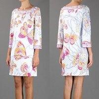 Hot superiore fresco ed elegante temperamento bianco farfalla stampa square collar slim stretch knit di seta dress