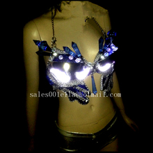 Newest Led Luminous Sexy Lady Bra Crystal Evening Dress Led Light Growing Stage Clothes DS Women Dance Costume Party Supplies