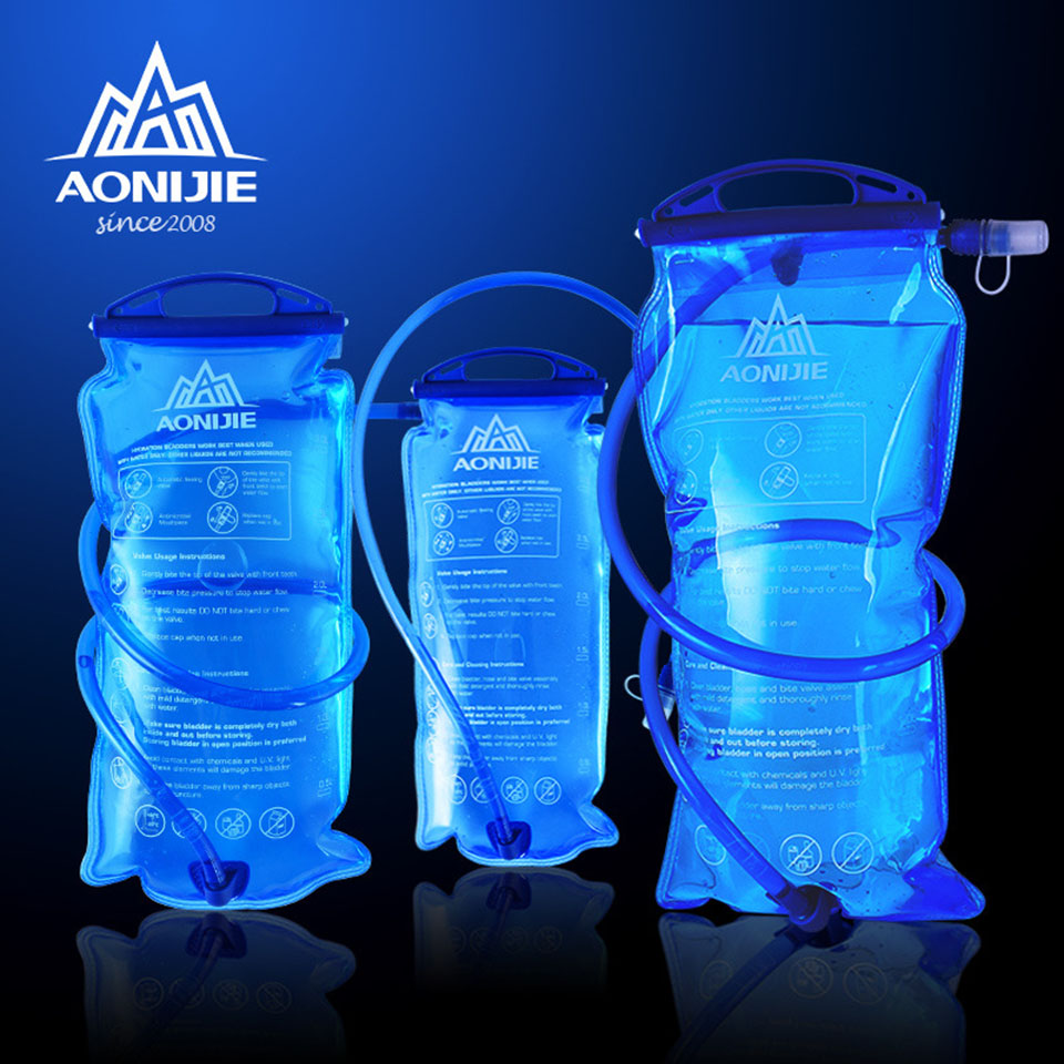 AONIJIE Outdoor Cycling Running Foldable PEVA Water Bag Sport Hydration Bladder for Camping Hiking Climbing, 1L/1.5L/2L/3L
