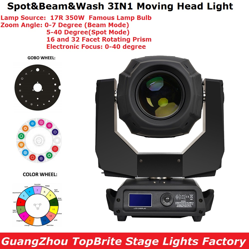 350W 17R Beam Spot Wash Moving Head Lights 16/32 Facet Rotating Prism LCD Display DMX 18Ch Professional Stage Dj Shows Projector