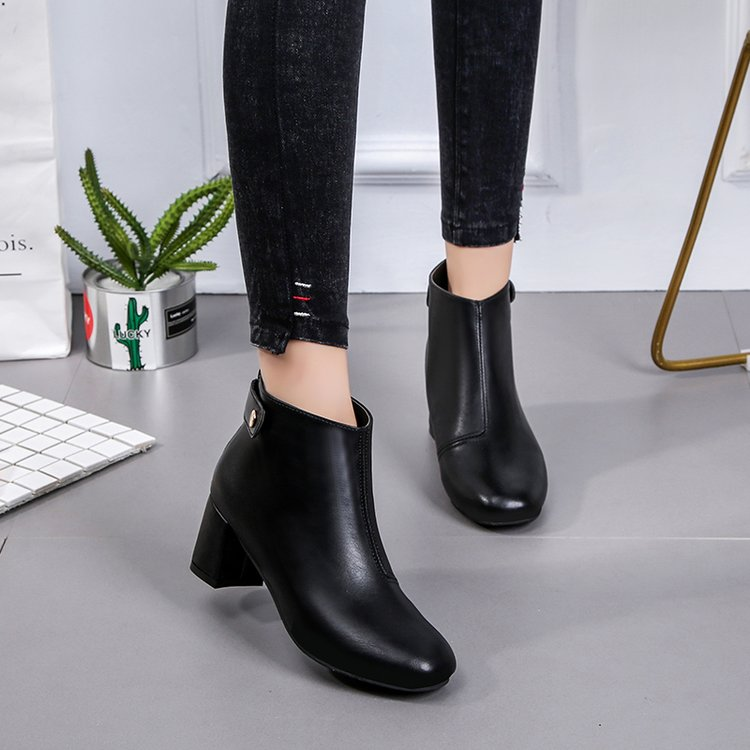 Aleafalling Women Boots Autumn Winter Zipper Buckle Mature Leather Lady Shoes Sewing -8002