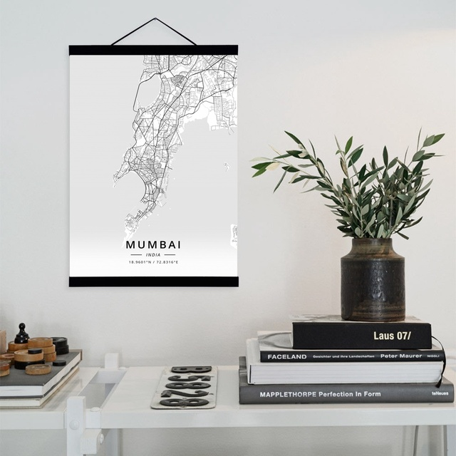 Mumbai India City Map Wooden Framed Canvas Painting Home Decor Wall
