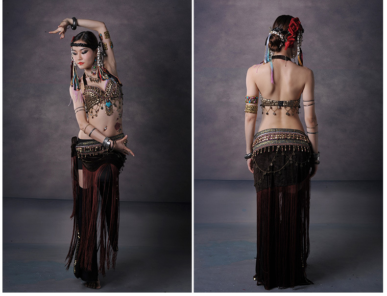 Belly Dance Costume Suit Performing Suit for Women Adult Tribal TasselsShow Two Piece Set