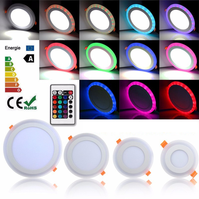 1pcs LED Panel 6W 9W 18W 24W 3Model Red green Bule Light with Remote Control Ceiling Recessed Down Lamp for Indoor