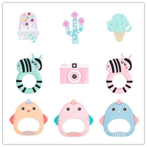 1 Pc Silicone Cartoon Animal Teether Ice Cream Baby Teether Bpa Free Diy Baby Teething Nursing Toy Gift