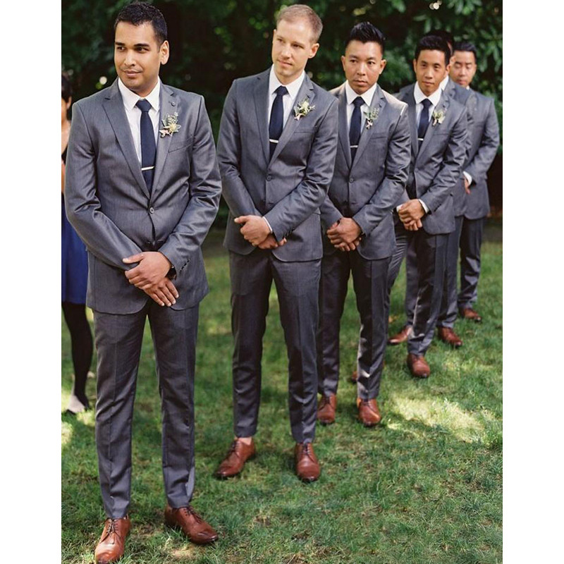 Custom Made Two Button Trim Fit Groom Tuxedos Peaked Label Best Man Suit Wedding Suits Three Piece Men Suits  (Jacket+Pants)
